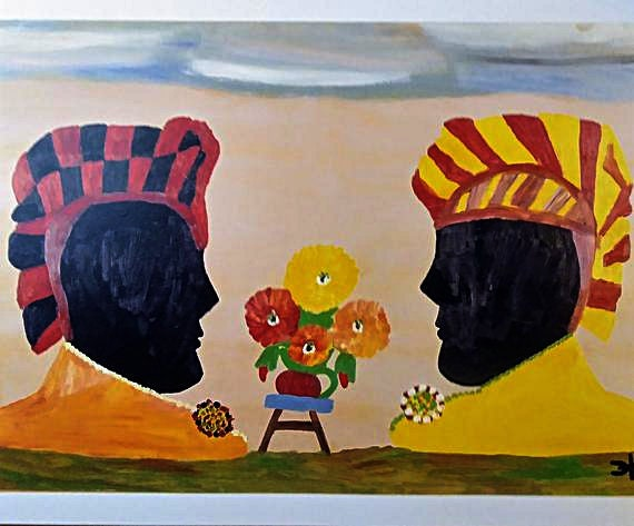 Clementine Hunter Print Print Two Sisters 1969 Bookplate Print 1988 African American Art Frame Ready