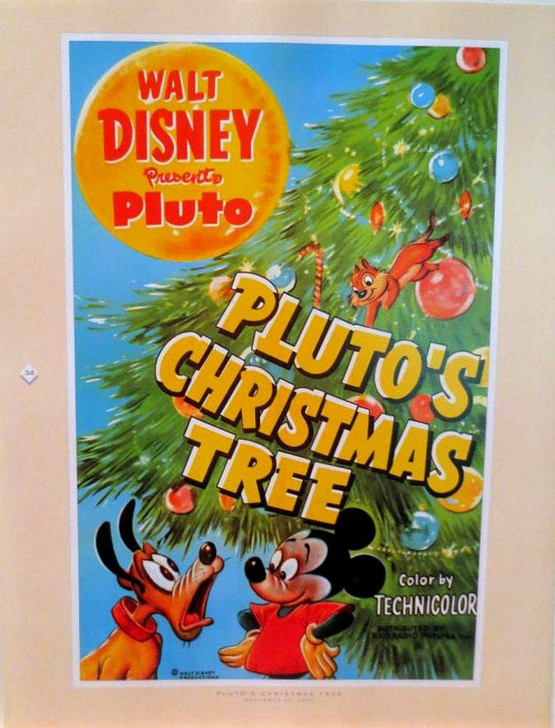 Plutos Christmas Tree.Vintage Disney Print Pluto S Christmas Tree Disney Characters Dog Print Dog Cartoon Character