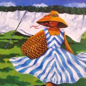 African American Art Print CANARY YELLOW HAT by Jonathan Green Black Women