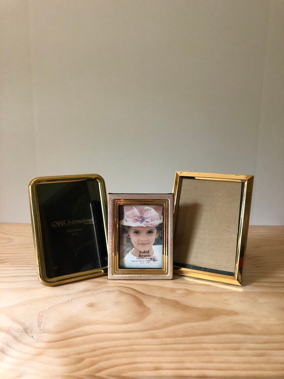 Vintage Brass Picture Frame Set Of 3 Vintage Brass Picture Etsy