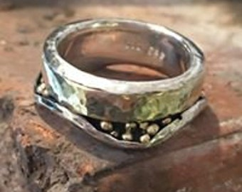 2farbiger ring, Silver and gold, bicolor