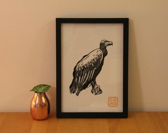Linocut print Vulture