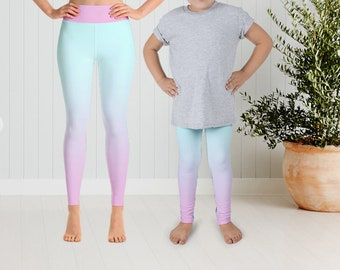 2629ec14b3a7e Pastel Ombre Print Leggings, Unicorn Rainbow Print Leggings, Mother  Daughter matching leggings, Mommy Daughter Leggings, Tights, Yoga Pants,