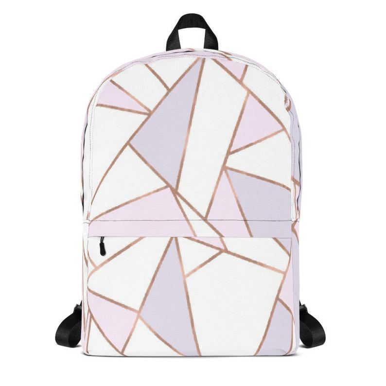 6dea6b1b1dbe9a Rose Gold Geometric Print Backpack Geo Print Backpack Modern | Etsy