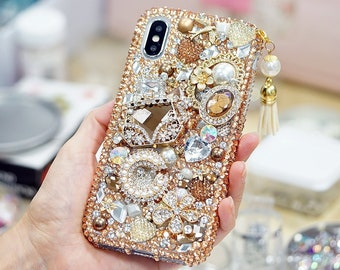 3eeb8ec23679 Bling Golden Glory Design with Tassel Phone Charm Crystals Diamond Sparkle  Case For iPhone X XS Max XR 7 8 Plus Samsung Galaxy S10 Plus Note