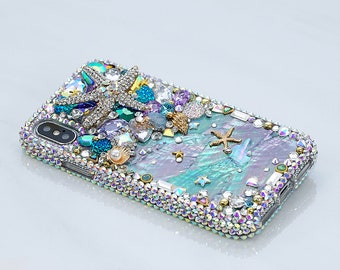 52988640f Bling Reef Sea Star Authentic Shell Genuine AB Crystals Diamond Sparkle Case  For iPhone X XS Max XR 7 8 Plus Samsung Galaxy S9 S8 Note S10e