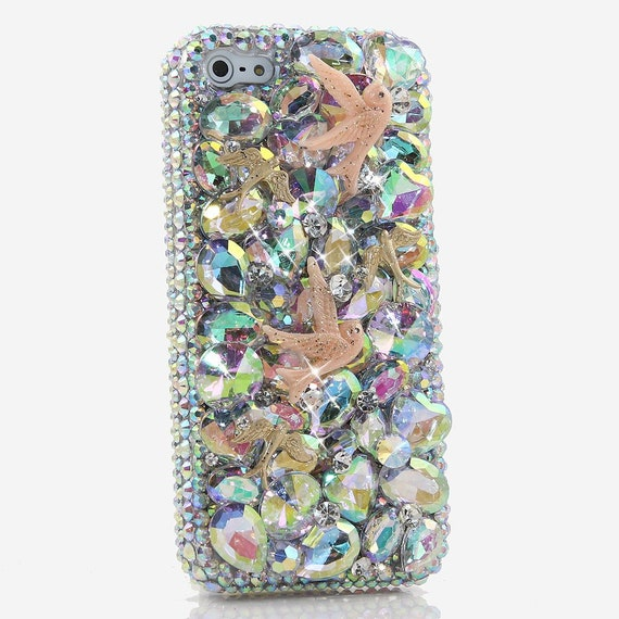 Genuine Ab Crystals Case For Iphone 11 Pro X Xs Max Xr 7 8 Plus Samsung Galaxy S10e S9 Note 10 Bling Diamond Doves Design Heart Stones