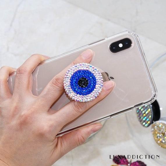 Rhinestone and Beaded Red Heart Evil Eye Phone Pop Grip