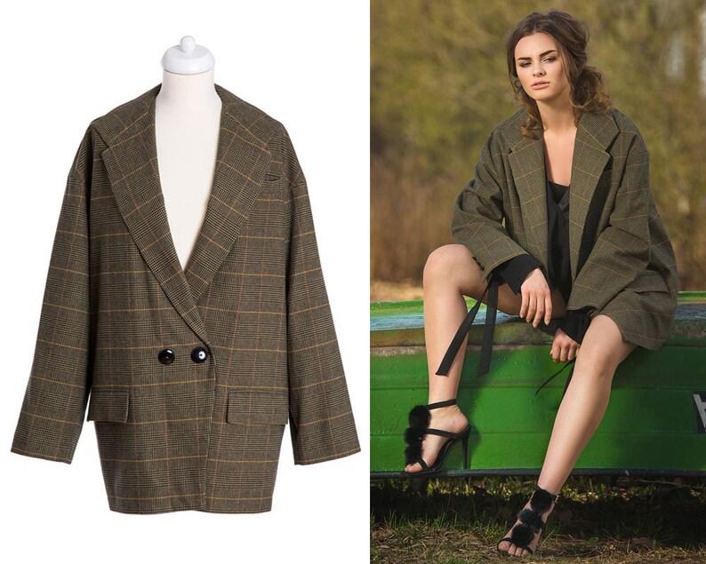 e689056c5a LONG OVERSIZE BLAZER   checked blazer · oversized jacket