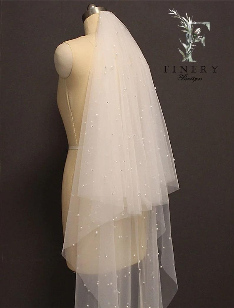 Pearl Wedding Veil Blusher Veil Pearl Bridal Veil Elegant Scattered Pearl Wedding Veil Scattered Pearl  Bridal Veil Two Tier