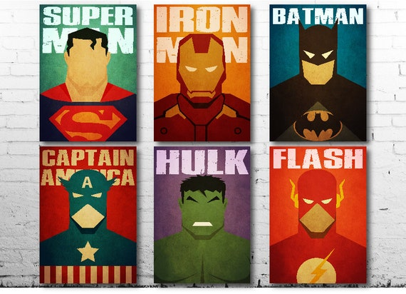 A4-A3 Sized Sets of 8 Vintage DC Comic Covers Poster Set