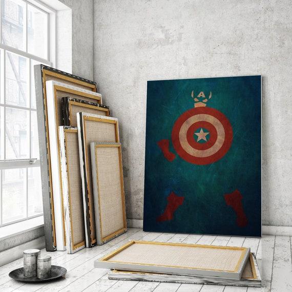 Captain America Printable Captain America gifts Captain America print  Avengers Poster Minimalist Marvel Comics Kids Bedroom Decor