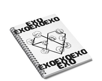 EXO Chibi Members Spiral Notebook Ruled Line SM Entertainment Kpop Fan Art Merch Gift Ideas Birthday Gifts Back To School