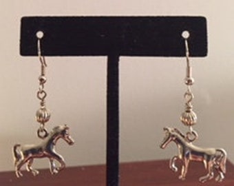 Silver plated horse earrings