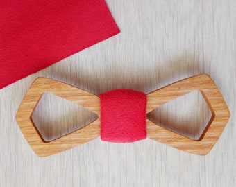 Wood bow tie, natural wood, wooden bow tie, wedding bow tie, mens tie gift, wood stuff, red, gift, marriage