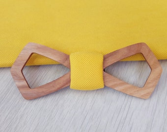 Wood bow tie, natural wood, wooden bow tie, wedding bow tie, mens tie gift, wood stuff, yellow, gift, marriage