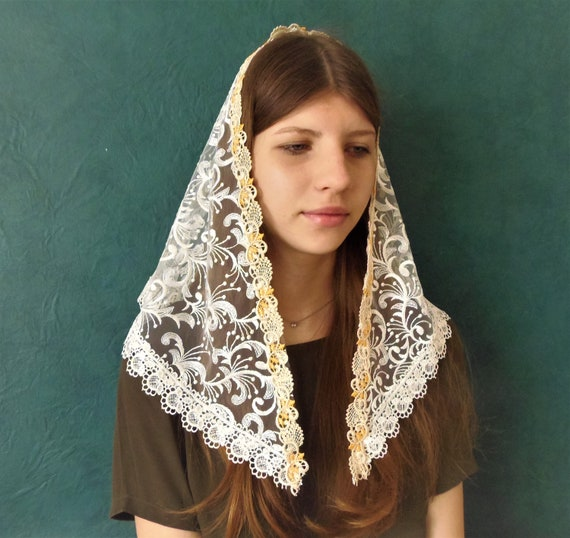 Church veil Head covering lace Chapel Veil  mantilla l catholic church scarf  chapel mothers day gift orthodox lace scarf