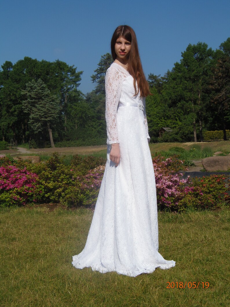 502752c1b5d3 Wedding dress long sleeve lace White bridal gowns Simple lace   Etsy