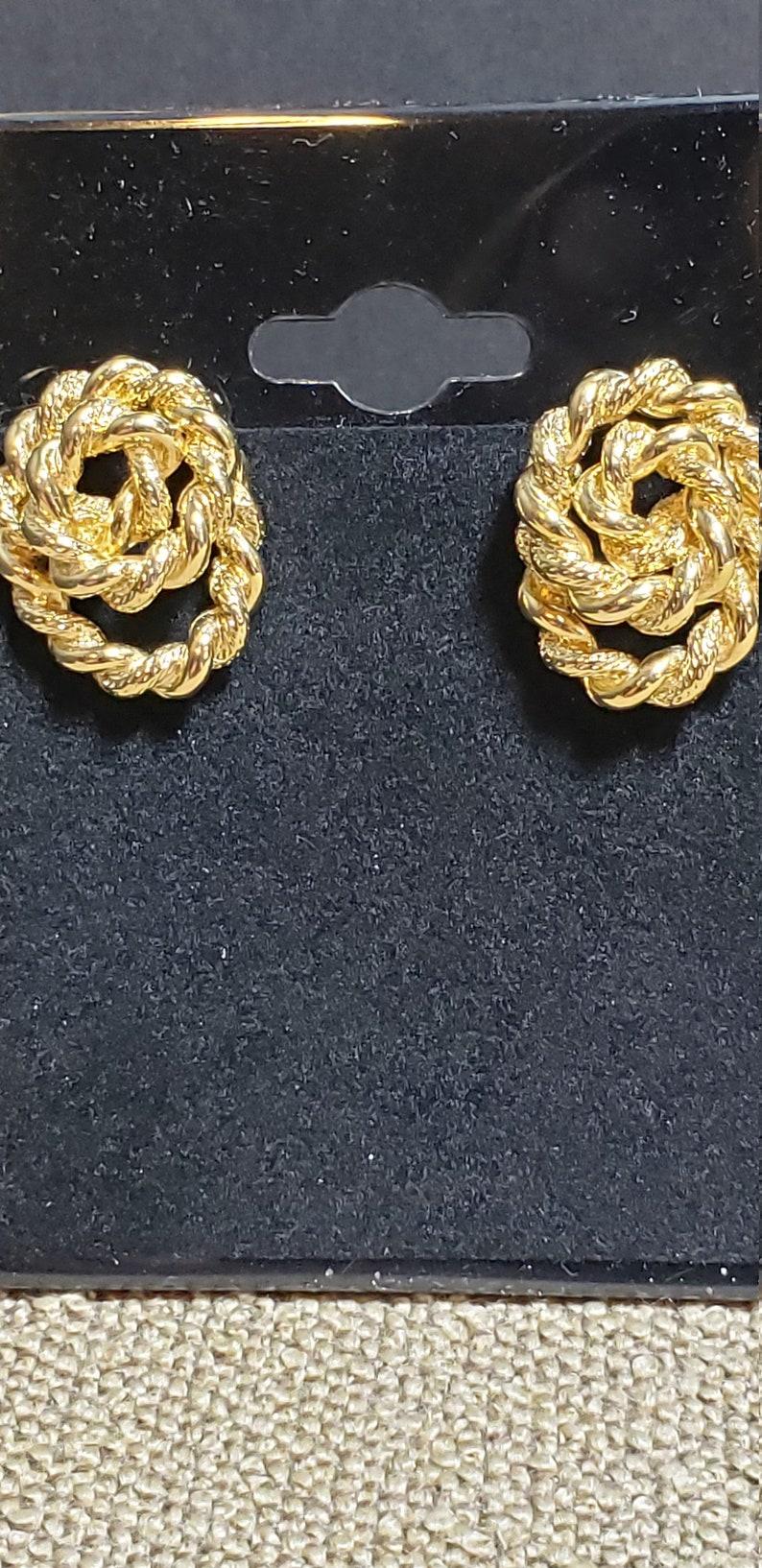 Vintage Goldtone Rope Monet Earrings
