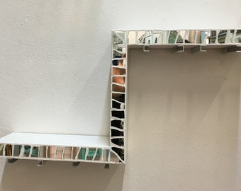 Bottle shelf and wall glasses, in mirror mosaic, cm24x48x9