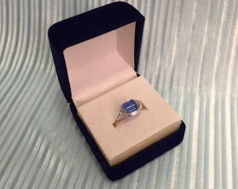 Blue Square Glass Bead Ring