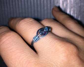 Blue Crystal Bead Ring