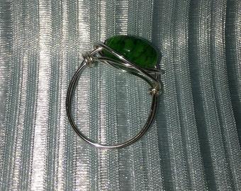 Green Glass Bead Ring