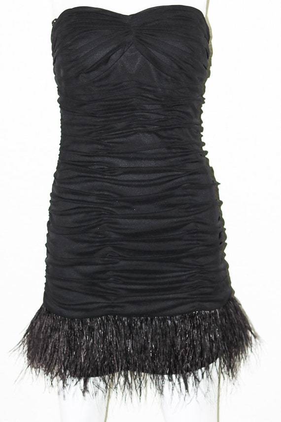 80s Vintage Feather Dress   Great Gatsby Dress