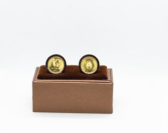 Friends Gift, Wedding Gift Coin Cufflinks- Argentina 50 Centavos stainless steel Choice of Silver or Gunmetal coloured backs