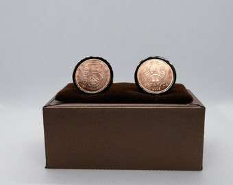 stainless steel Haiti 5 Centimes 10 year anniversary Coin Cufflinks Choice of Gunmetal coloured backs unique present for men