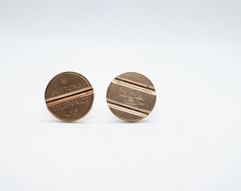 gift for boyfriend, fiftieth year Italy,Telephone Token- Gettone Telefonico Coin Cufflink gift for husband Coin Cufflinks 5th year