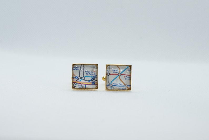 London Metro Tube Subway Cufflink with 16mm Brass Square Back
