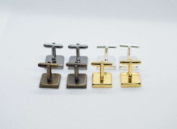 New York Metro Subway 4 Cufflink with 16mm Brass Square Back