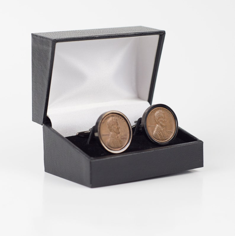 America 1956 One Penny Coin Cufflink w Stainless Steel GunMetal Backs