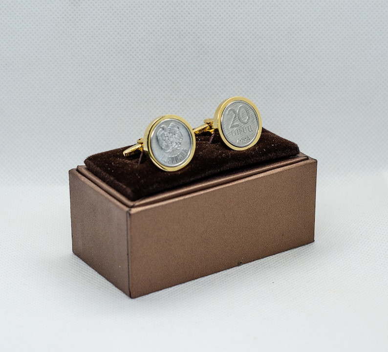 stainless steel Husband Gift Wedding Gift Choice of Gold or Gunmetal coloured backs Friends Gift Coin Cufflinks-Armenia 20 Luma