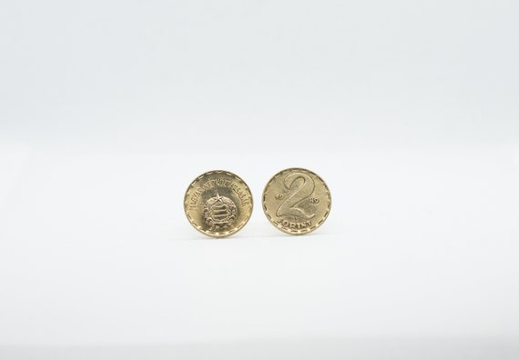 Earrings from coins Hungary 2 Forint coin