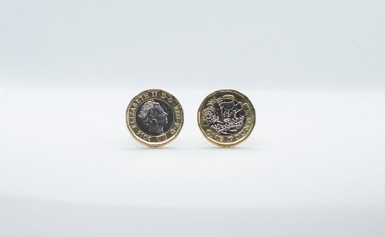 Coin Cufflinks British One Pound 12 Sides Coin Cufflinks Etsy