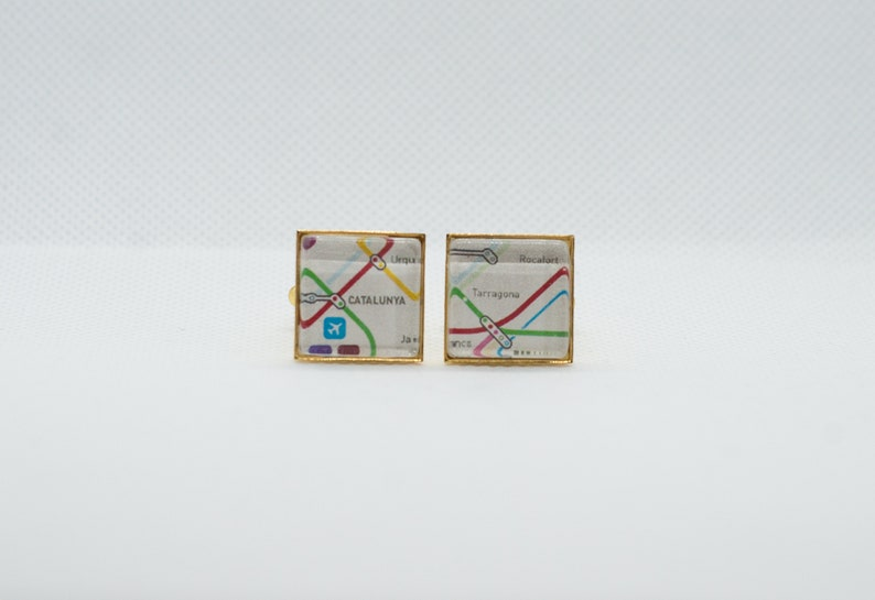 Barcelona Spain Metro Subway II Cufflink with 16mm Brass Square Back