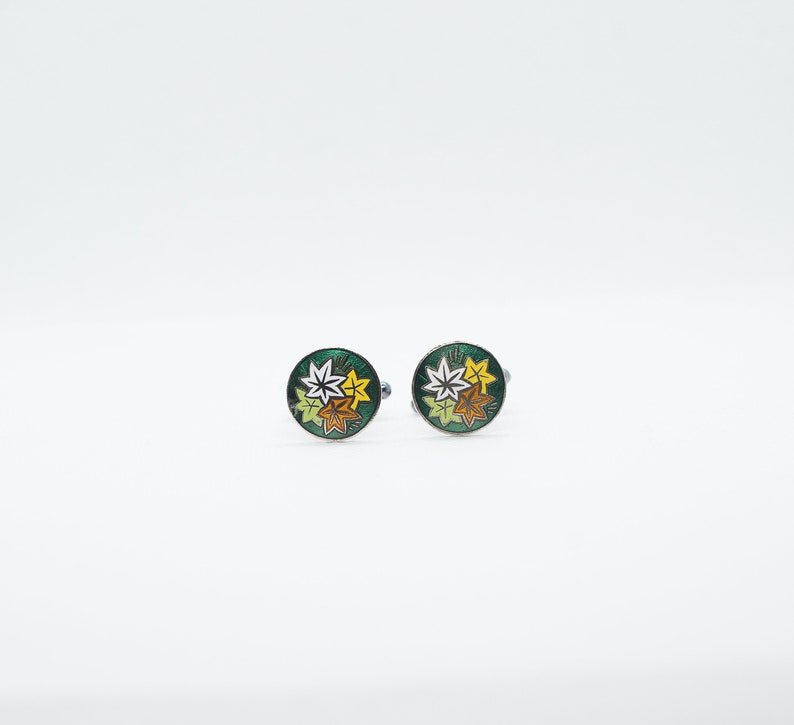 Vintage metal Japanese Button Cloisonne Autumn Leaves  with Green Enamel Cufflinks
