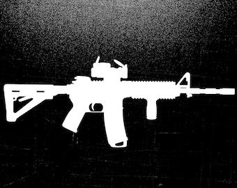AR 15 American Flag Gun Firearm With Scope Vinyl Decal Sticker
