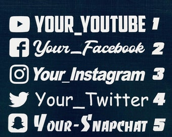 4X Full Color Instagram Camera Personalized 9 White Vinyl Sticker Social Media Decals with Your User Name Decal Stickers White Lettering