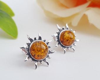 Natural Baltic Amber Stud Earrings Amber and Silver Earrings Detailed Stud Earrings Gemstones Post Earrings Elegant Jewellery Gift For Women