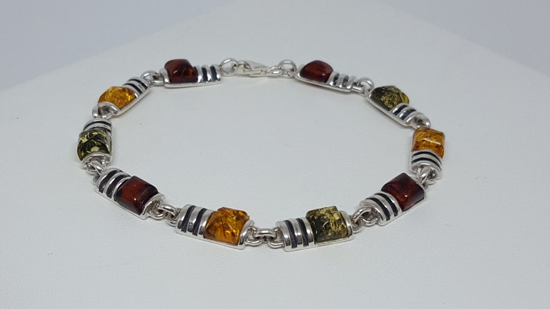 Amber Jewelry Gift Dainty Silver Bracelet Amber And Silver Chain Bracelet Natural Amber Link Bracelet Small Square Baltic Amber Bracelet