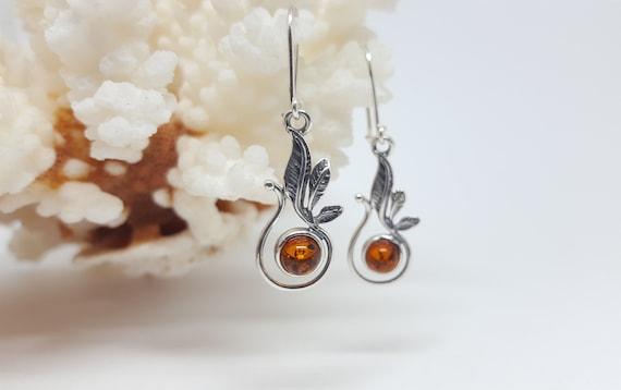 02dce93f5 Amber Leaf Earrings Smal Baltic Amber Earrings Floral Amber   Etsy