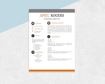 Resume Template Word Modern Contemporary Resume 2 Page Cv Etsy