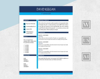 CV Resume, 2 Page Resume Template, Cover Letter, Reference, Word Resume, Two Page CV, Modern Template Resume, Instant Download Resume Design