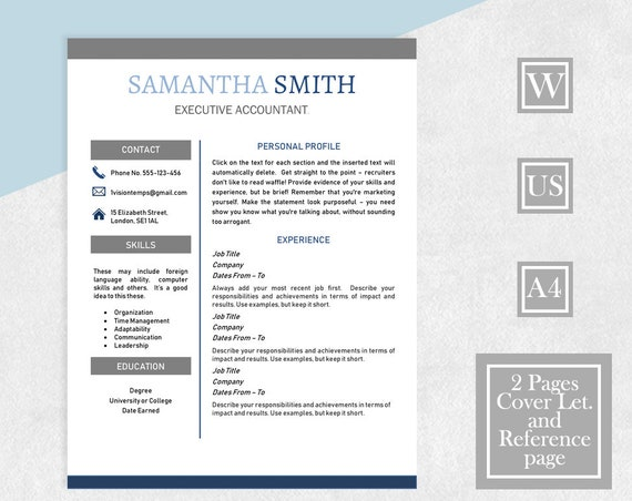 Resume Template Word Modern Contemporary Resume 2 Page Cv Cover Letter References For Word Two Page Resume Instant Download Template