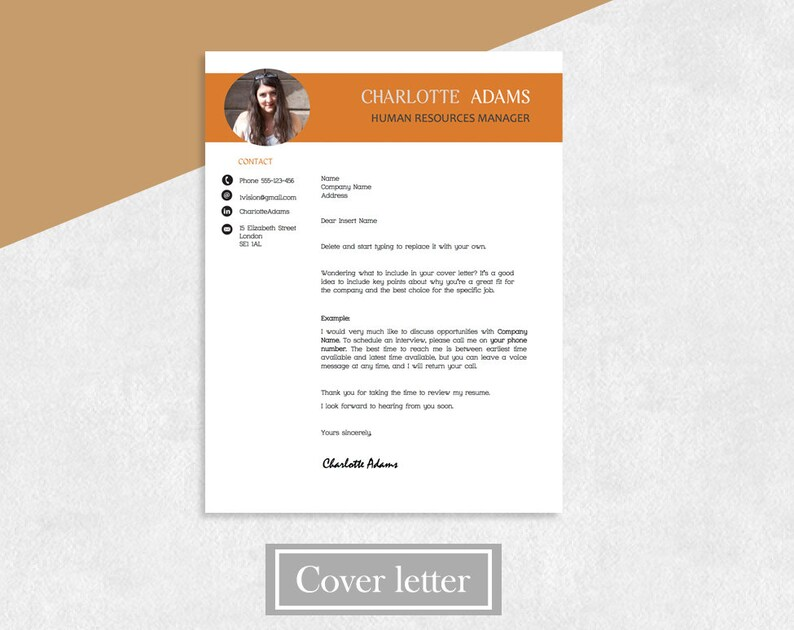 CV Template Resume, Designed Resume, Cover Letter, References, Resume for  Word, Creative Template Resume, Instant Download, Template Resume