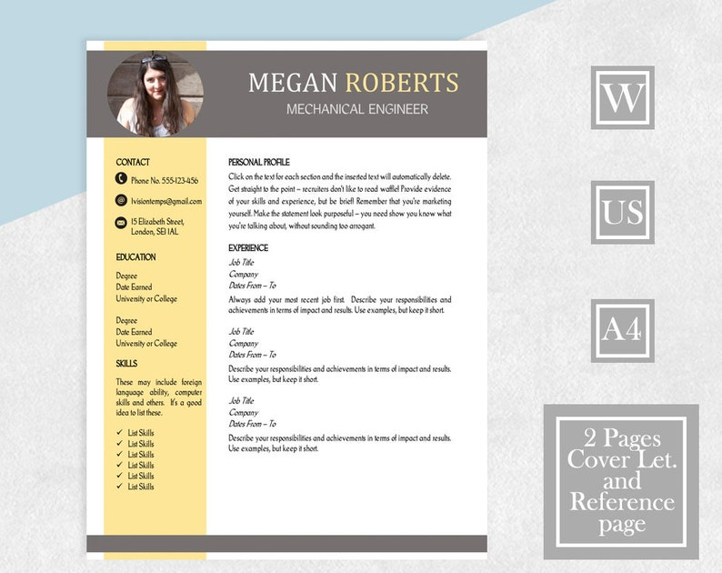 Resume Template CV 2 Page Cover Letter Reference