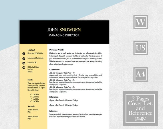 Perfect Resume, Resume Template, Cover Letter, References, Two Page Resume,  CV Template, Instant Download, Resume Design, Perfect Template